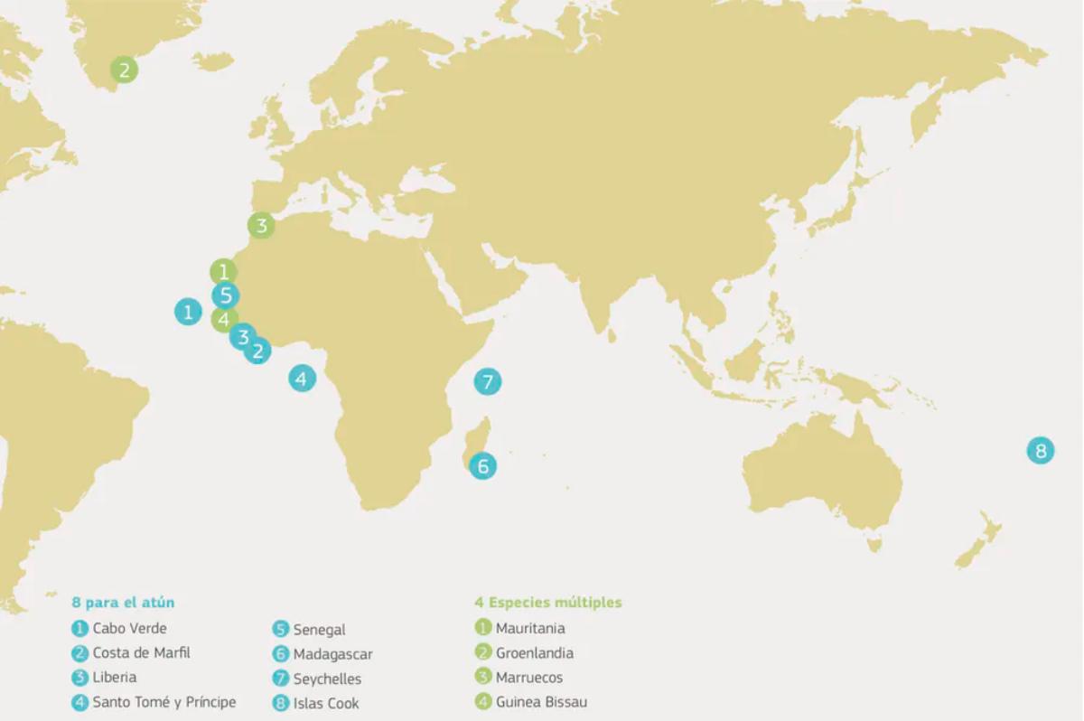 Hay 12 acuerdos de asociación de pesca sostenible en vigor entre la UE y países del océano Atlántico, Pacifico e Índico